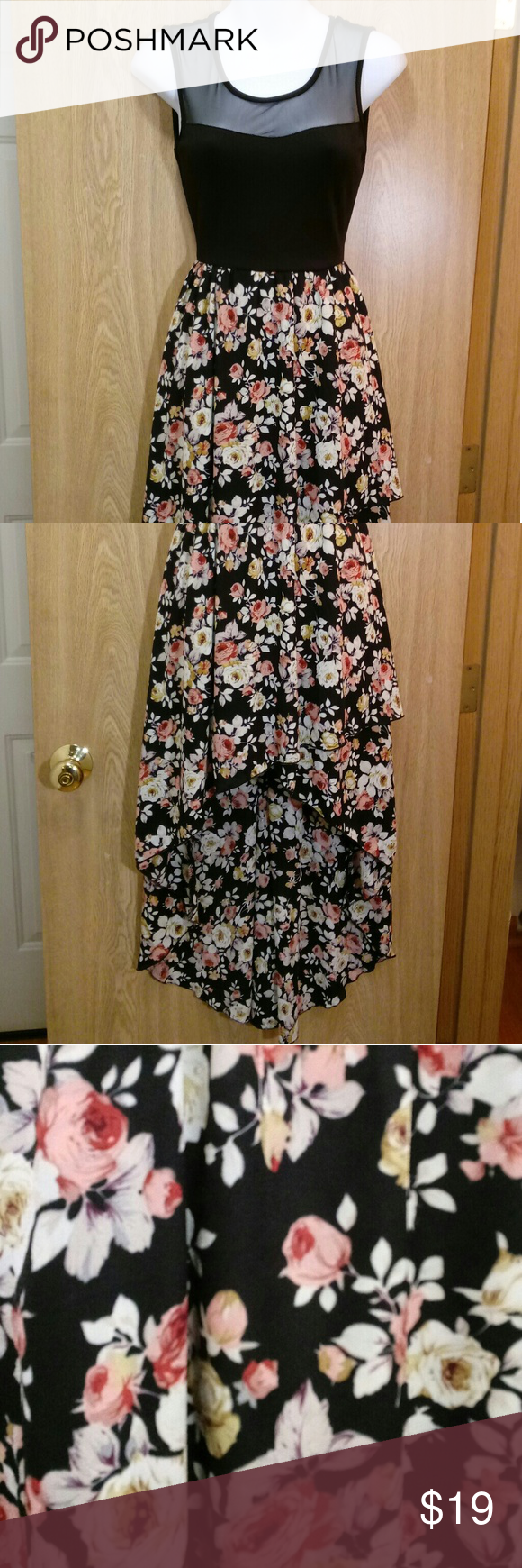 Vibe - High-low black & floral dress with mesh -Top part is stretchy -Beautiful condition! Vibe Dresses Asymmetrical