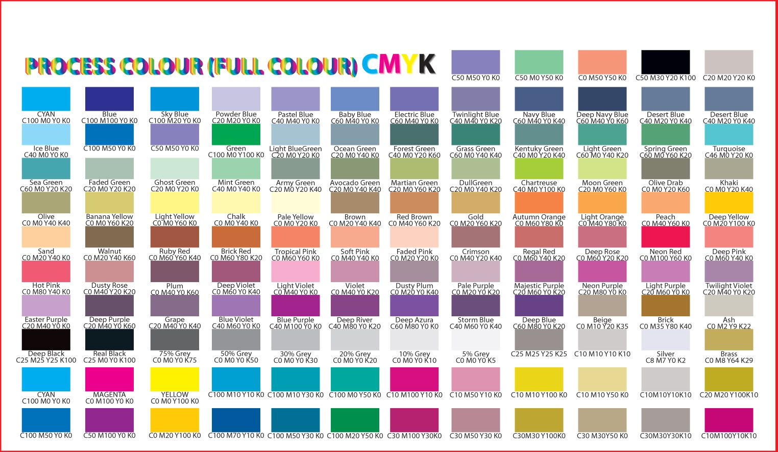 Offset Process Colour Chart  Be Productive    Colour