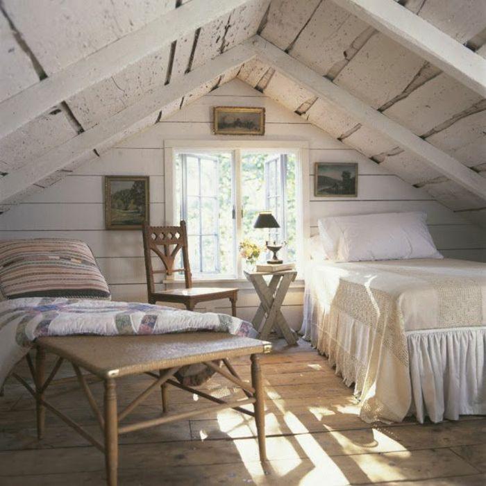 1001 id es d co de chambre sous pente cocoon toiture en - Lambris bois exterieur sous toiture ...