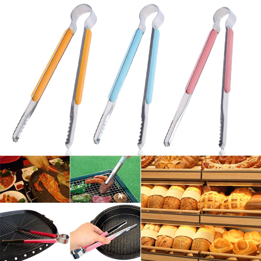 Multi-function Food Tongs Cooking Salad Bread Clamp BBQ Clip Kitchen Tools