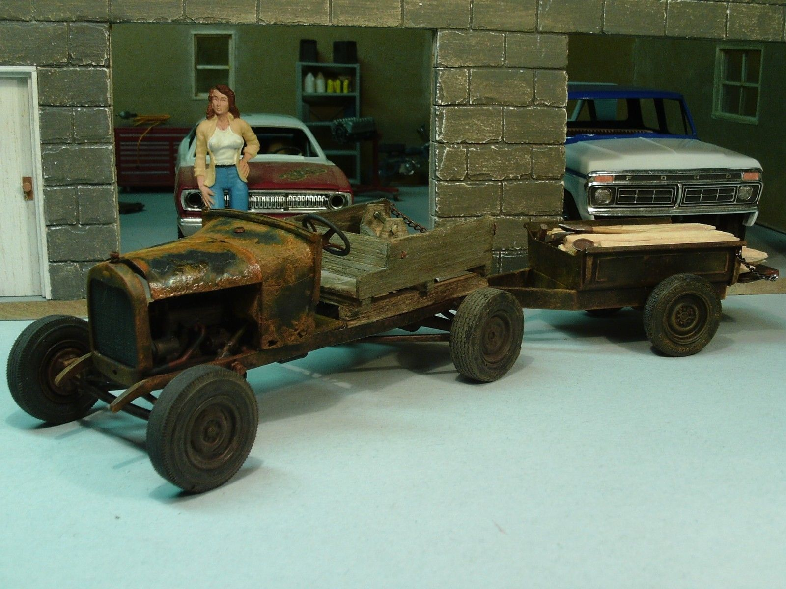 BUILT 1929 MODEL A FORD DOODLEBUG FARM TRUCK TRACTOR JUNKYARD DIORAMA BARN FIND