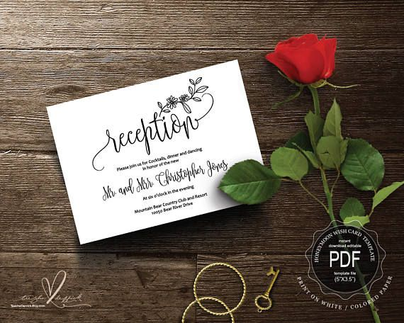 Wedding Reception PDF card template instant download Wedding - fresh invitation wording reception
