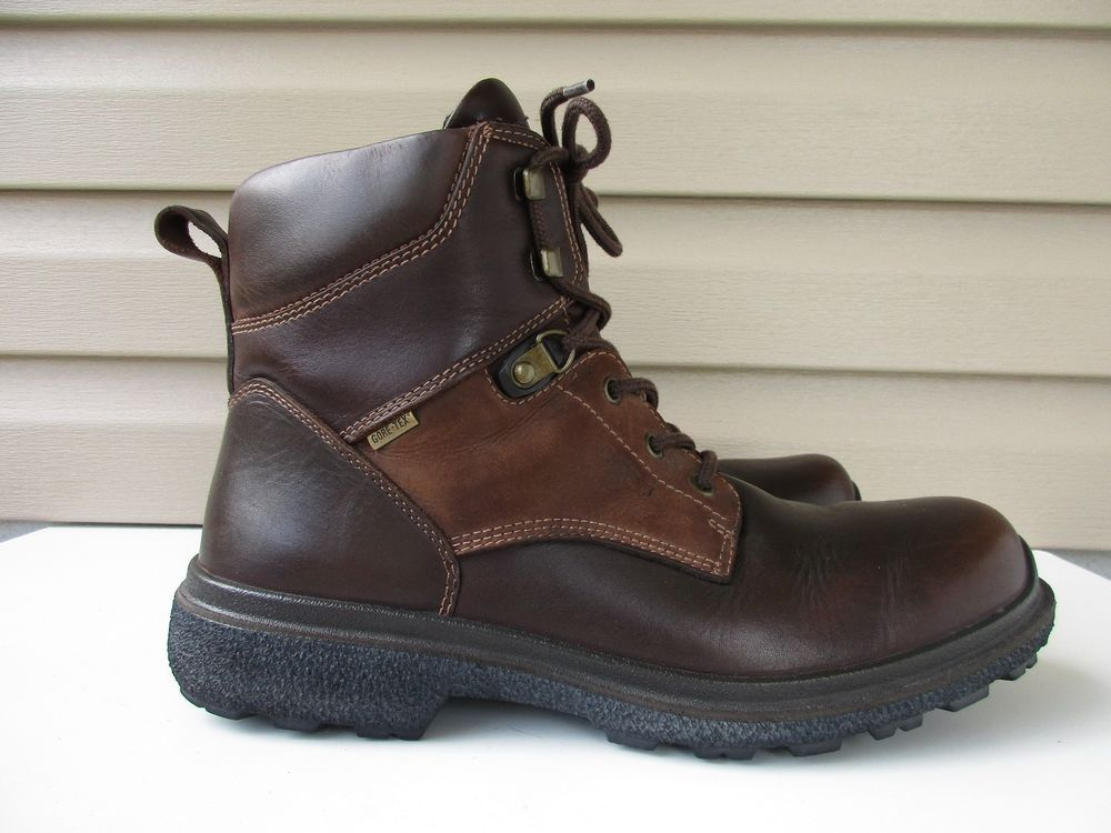 ECCO GORE TEX RUBBER TECH MENS 11 11.5 M BROWN LEATHER BOOTS