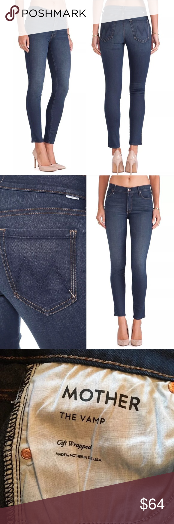 4193da31ddc New MOTHER The Vamp Skinny Ankle Slit Jeans 124235 New with tags. MOTHER  The Vamp