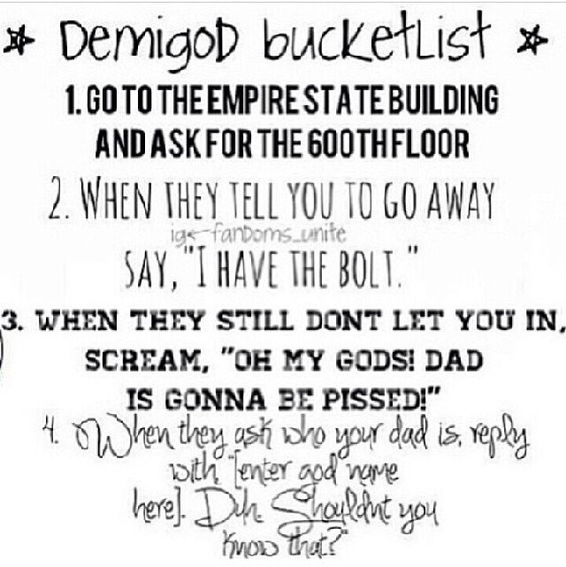 demigod bucket list this has literally been on my bucket list since