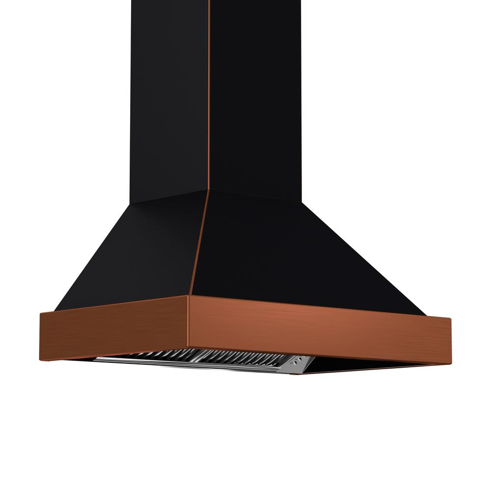 Zline 36 In 1200 Cfm Wall Mount Range Hood In Black And Copper 655 Bcxxx 36 The Home Depot Wall Mount Range Hood Range Hood Wall Mount