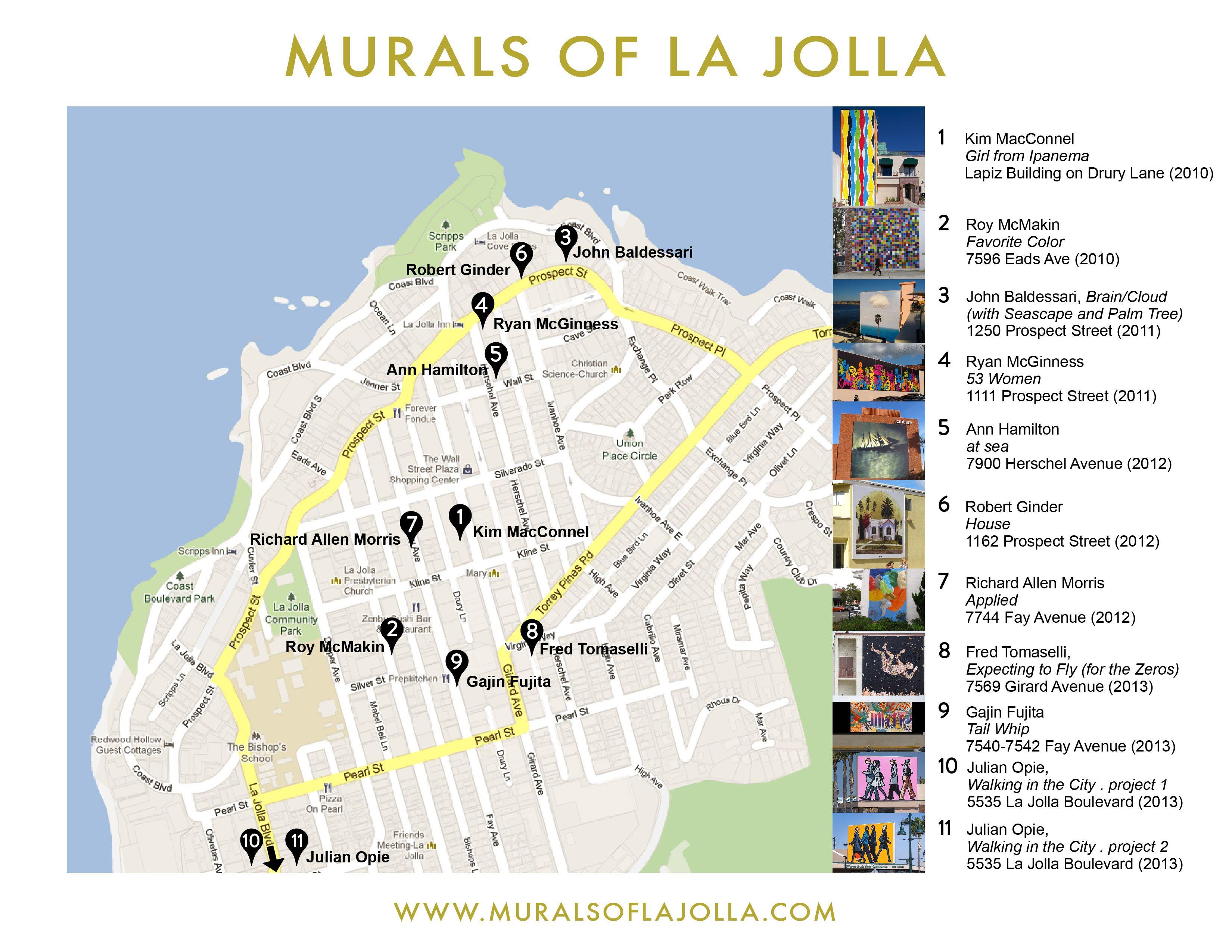 Where To Find All The La Jolla Murals Map La Jolla La Jolla