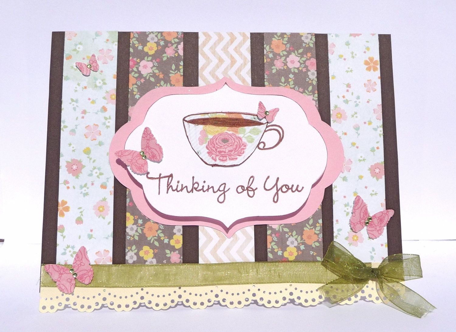 Thinking Of You Tea Time Greeting Card Handmade Paper Card Great