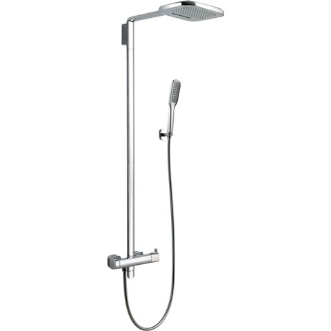 Lyra Thermostatic Shower Mixer With 2 Function Overhead Rain Shower And  Handset