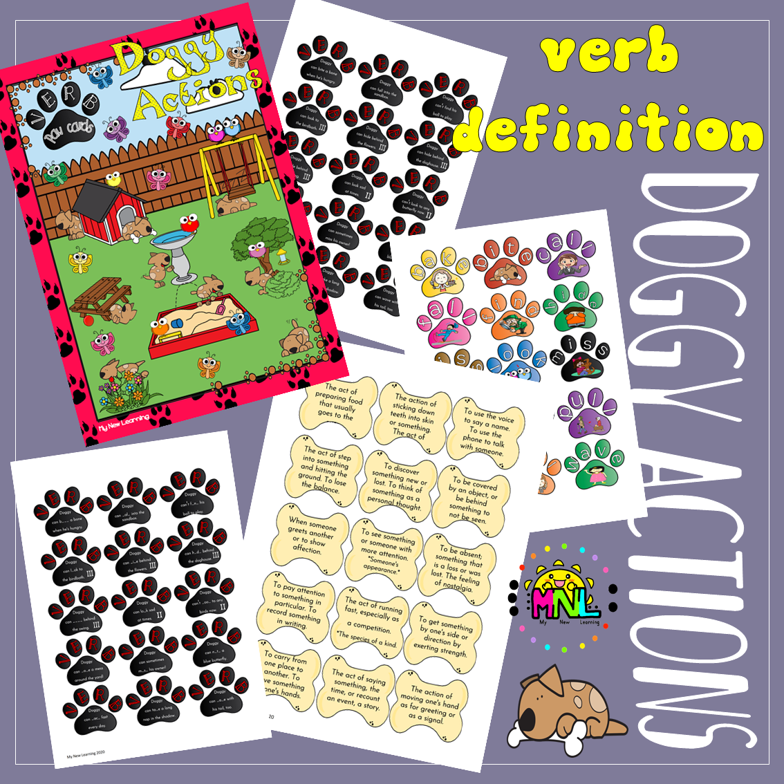 Ela Grammar Verb Definitions Doggy Actions Bone Paw Pack Reading Comprehension Worksheets Reading Comprehension Middle School Grammar [ 1134 x 1134 Pixel ]