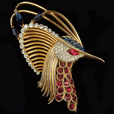 Trifari 'Alfred Philippe' Gold Pave Emeralds and Rubies 'Firebirds' Peacock's Head Pin