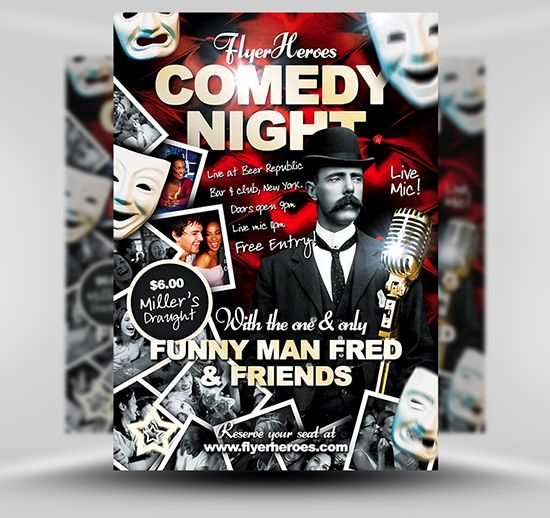 Free Comedy Night Flyer Template  Design Art Coolness