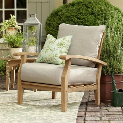 Birch Lane Heritage Summerton Teak Patio Chair With Cushions In