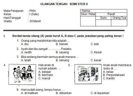 Contoh Soal Uts Bahasa Indonesia Kelas 3 Semester 2 Ktsp