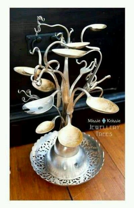 Old sterling silver spoons and forks reused jewelry organizer