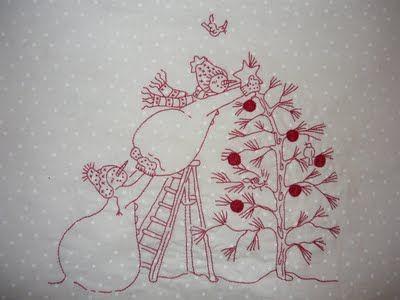 Red work snowmen