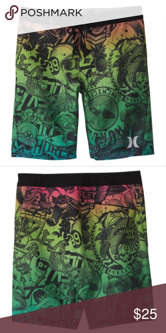 Boys Board Shorts Dog Paw Print Style Black Quick Dry Swim Surf Trunks