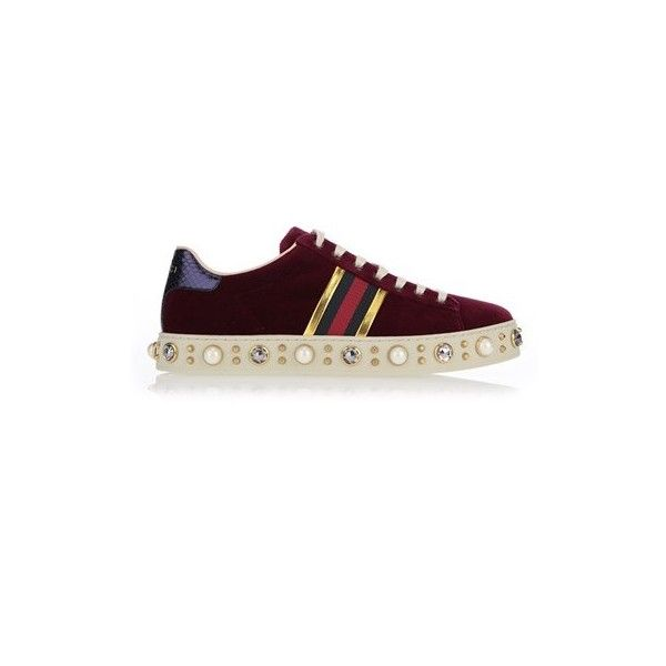 aa997d1ba92 GUCCI New Ace Velvet Sneakers (13.215.455 IDR) ❤ liked on Polyvore ...