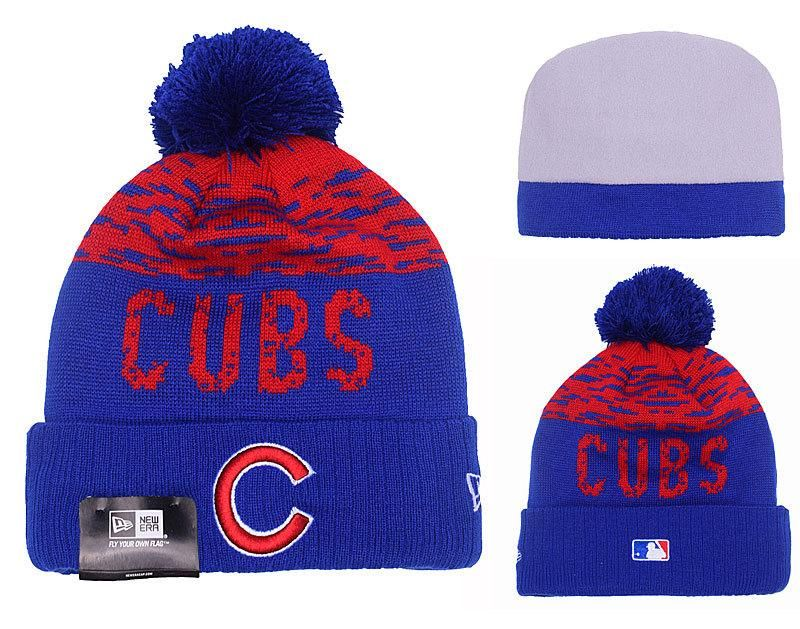 Men s   Women s Chicago Cubs New Era MLB On-Field Sports Knit Pom Pom Beanie  Hat - Red   Blue 216462591a3