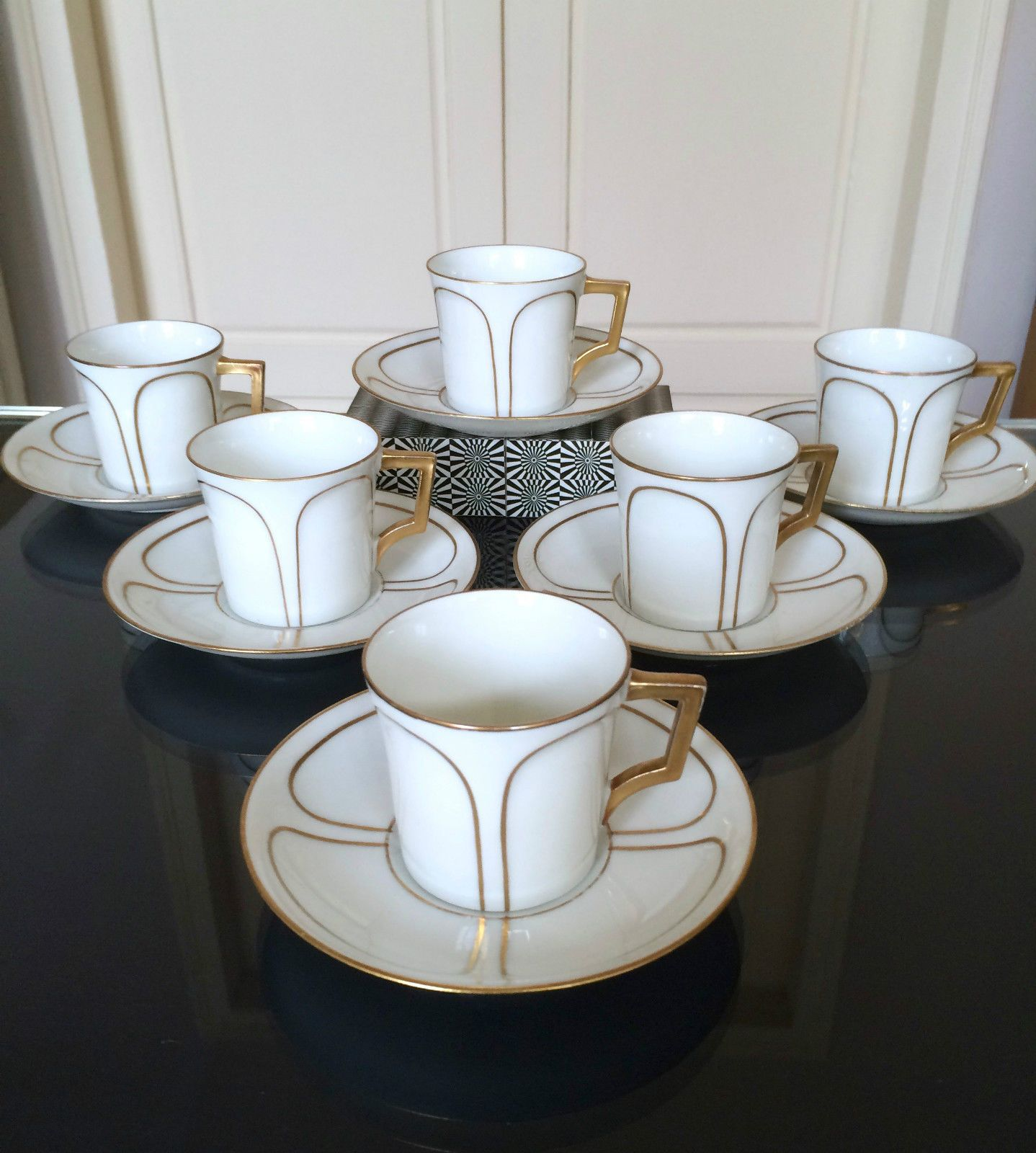 6 tasses caf art d co en porcelaine de limoges lanternier ebay art deco limoges porcelain. Black Bedroom Furniture Sets. Home Design Ideas