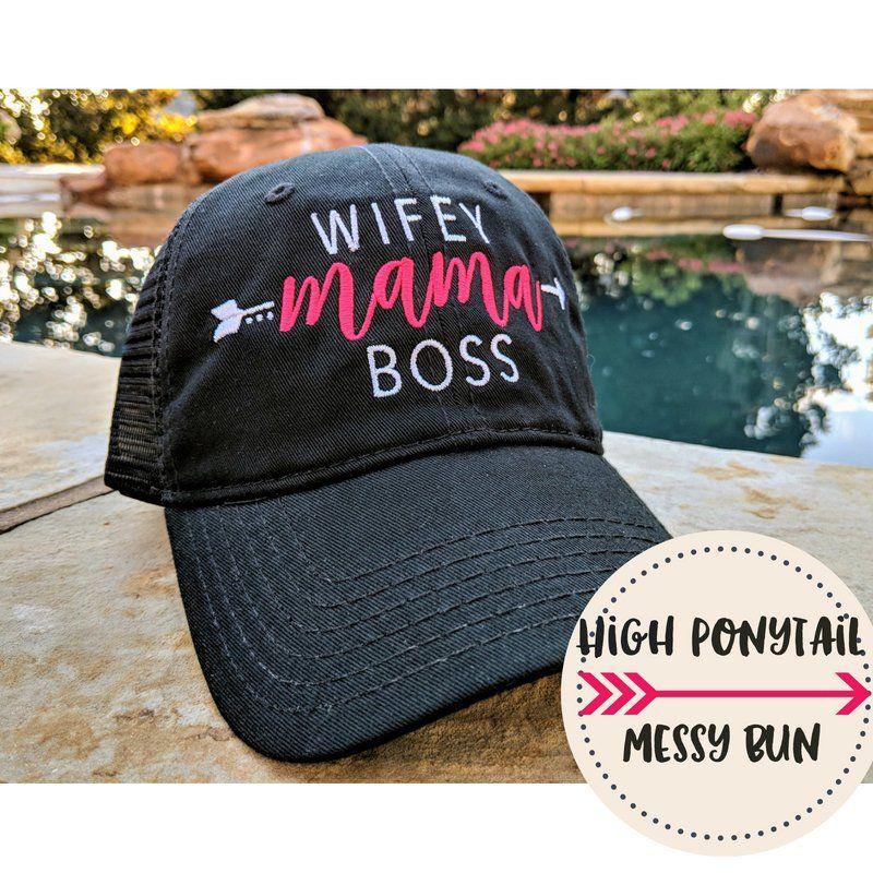 Wifey Mama Boss High Ponytail Cap 7941ce9ec0d
