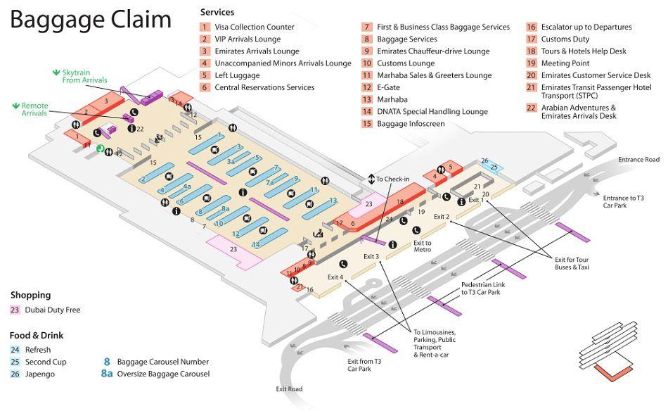 Emirates Terminal 3 Baggage Claim Maps Dubai Airport