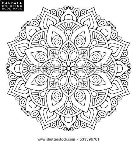 Islam Arabic Indian Moroccanspain Turkish Pakistan Chinese Mystic Ottoman Motifs Coloring Book Page Flower Mandala Vintage Decorative Elements