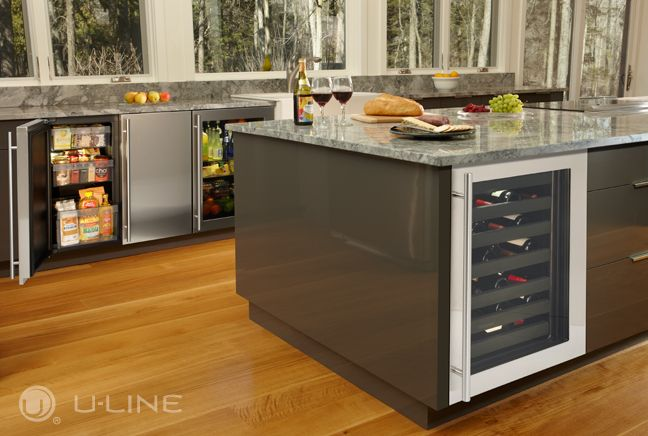 "Maximize the kitchen capacity with plenty of modular undercounter refrigeration. U-Line Wine Captain® Model, 36"" solid door refrigerator and 24"" glass door refrigerator."