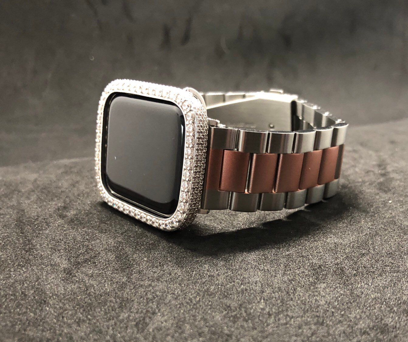 a138636255a826 Excited to share this item from my  etsy shop  Apple Watch Band Men s  Womens Two Tone Stainless Steel 38mm 40mm 42mm 44mm Series 1 2 3 4  Iced  Out Bezel ...