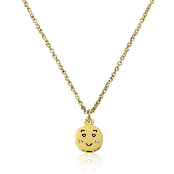Little Miss Twin Stars Lmts 14k Goldplated Blushing Smiley Face Emoji... ($20) ❤ liked on Polyvore featuring jewelry, necklaces, yellow, 14k gold plated necklace, charm necklace, lobster claw clasp charms, cubic zirconia necklaces and 14k necklace