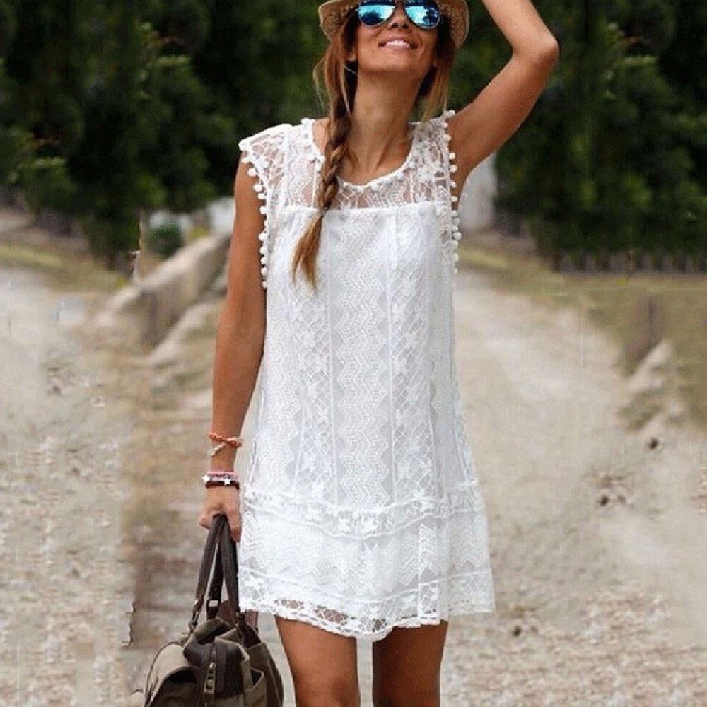 Hot Summer Beach Casual Sleeveless Beach Short Dress Short Beach Dresses Lace White Dress Lace Shift Dress [ 1000 x 1000 Pixel ]