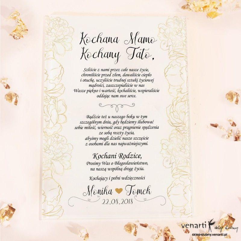 Zlote Kwiaty Szklane Zaproszenia Dla Rodzicow 2393 Sklep Slubny Venarti Wedding Day Wedding Weeding