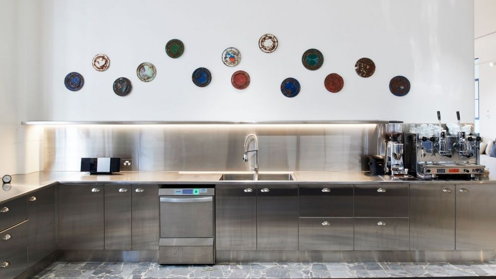 stainless steel modern warm kitchen #stainlessteel #officedesign ...
