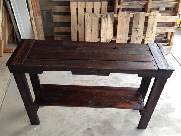 Pallet Sofa Table - Pallet Entry Desk | Pallet Furniture DIY