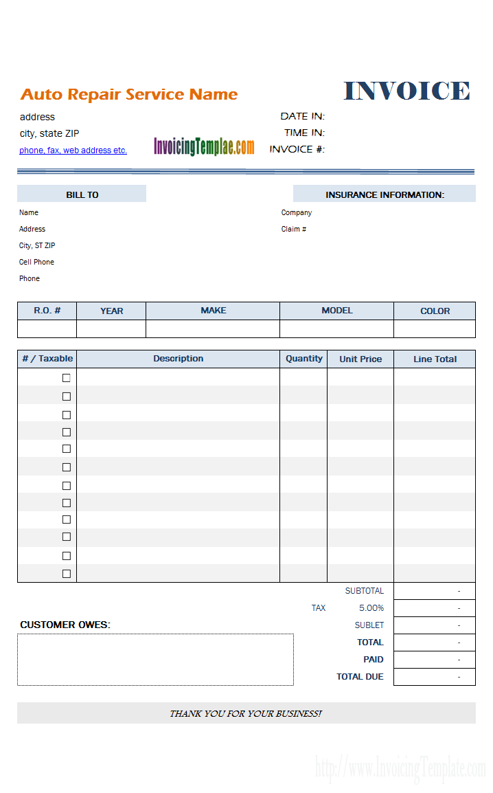 Auto Repair Invoice Template Invoice Template Estimate Template Auto Repair