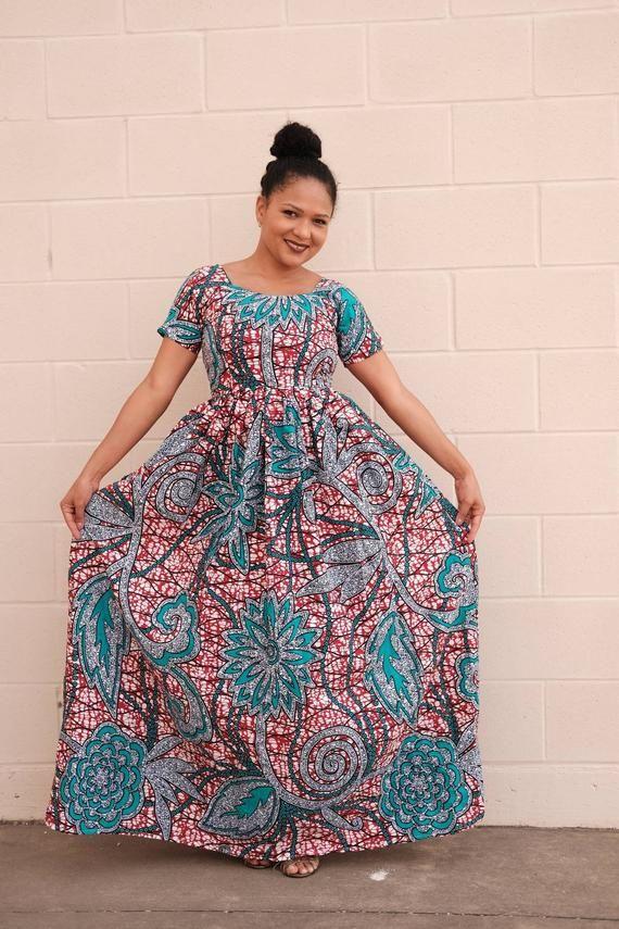 Ankara robe africaine Ankara impression femmes maxi robe partie tenue africaine mode africaine vêtements africains porter robe africaine de style africain #ankaramode