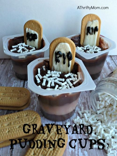 graveyard pudding cups, pudding cups, Halloween, Halloween pudding - halloween dessert ideas