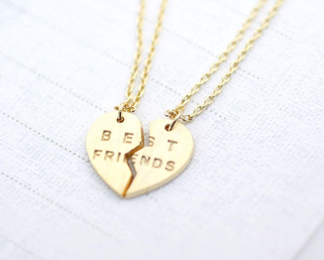 Best friends split heart necklace in gold accessories for teen best friends split heart necklace in gold aloadofball Gallery