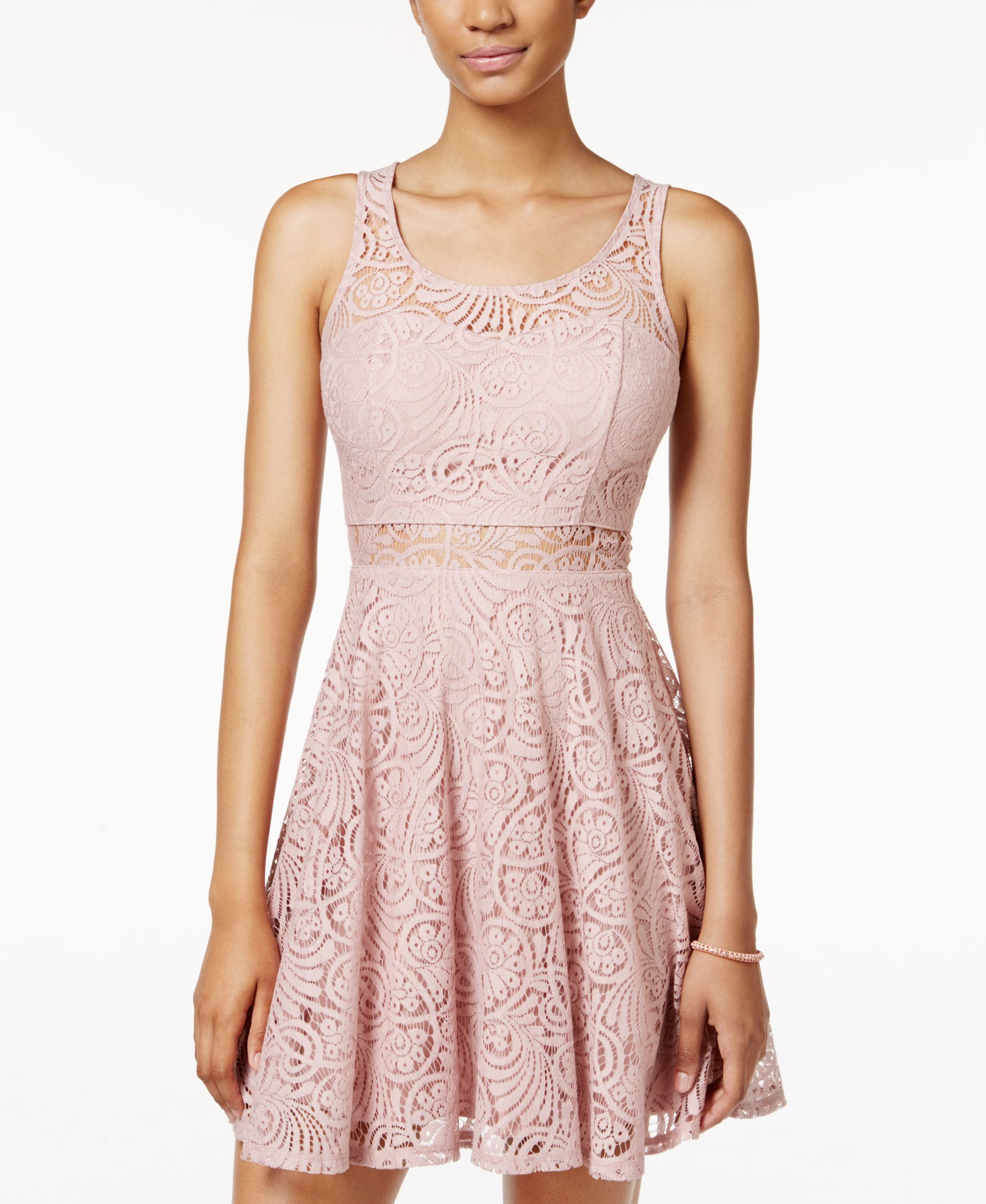 American Rag Lace Illusion Skater Dress, Only at Macy\'s | homecoming ...