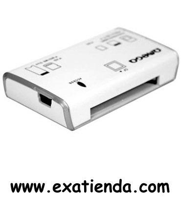 Ya disponible Lector omega ext. blanco     (por sólo 5.19 € IVA incluído):   - Lector de Tarjetas de alta calidad Universal  -Tipos de Tarjeta Soportadas: - Memory Stick Pro Duo - Memory Stick Pro - SMC Card - Secure Digital - Multimedia Card - Compact Flash - MF Card  - Soporta tarjetas de alta capacidad (hasta 32GB) - Incluye cable de conexion a PC - Carcasa de Goma, bien protegido de tipicos problemas mecanicos - Conectividad USB 2.0 para alta tasa de transferencia, In