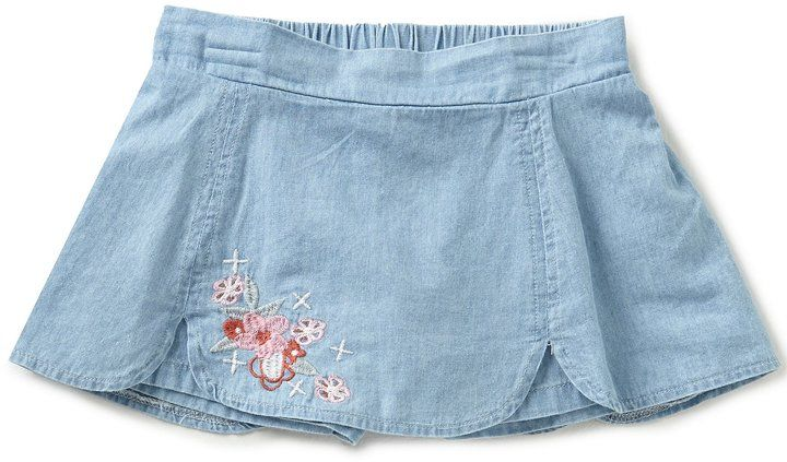 8028bb8160d5 Copper Key Little Girls 4-6X Chambray Floral-Embroidered Skort ...