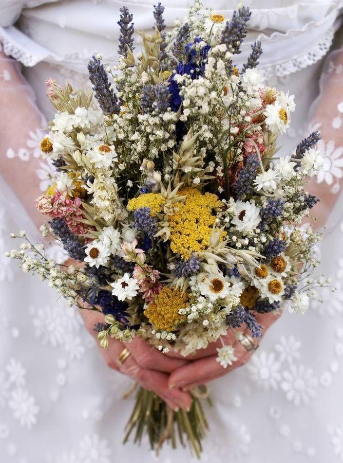 Festival Meadow Dried Flower Wedding Bouquet #purpleweddingflowers