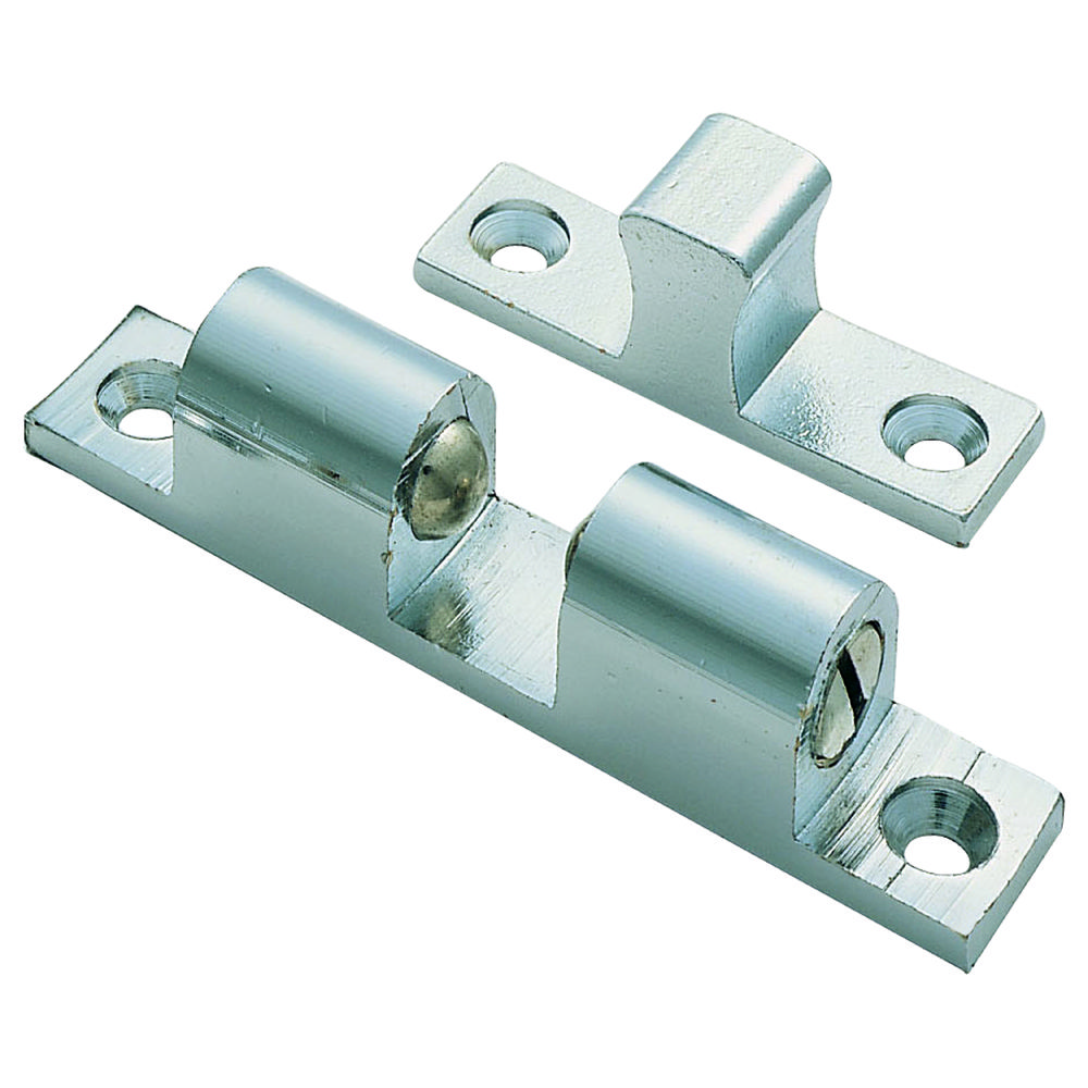 Double Ball Catch FTD815. A double-ball style roller catch suitable for use on wardrobes, cupboards and lightweight internal doors.  Fully adjustable according to the pressure required.  Provides a good positive grip and unlike modern magnetic catches is less likely to pop open. Available in different finishes and sizes.