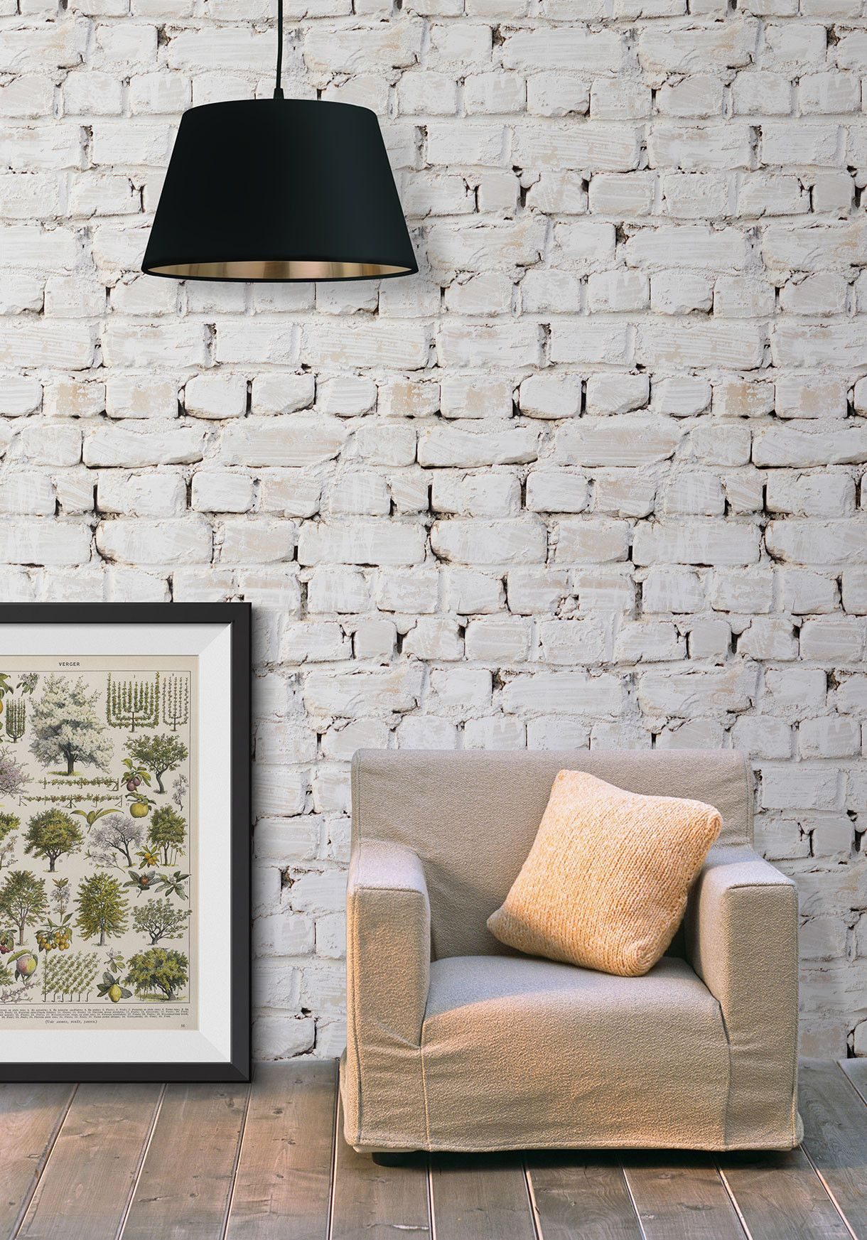 Whitewash Bricks Boutique Faux Wallpaper design by Milton