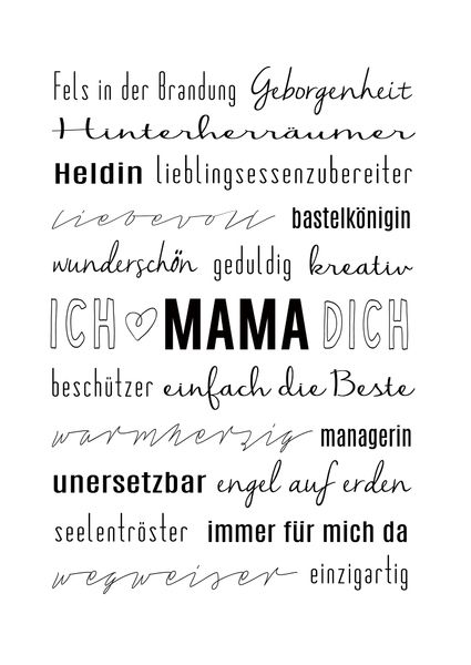 dekoration muttertag typo kunstdruck mama ist die beste. Black Bedroom Furniture Sets. Home Design Ideas