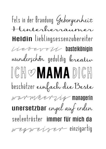 Muttertag Typo Kunstdruck Mama Ist Die Beste Muttertag Beste Mama Spruche Muttertag Spruche