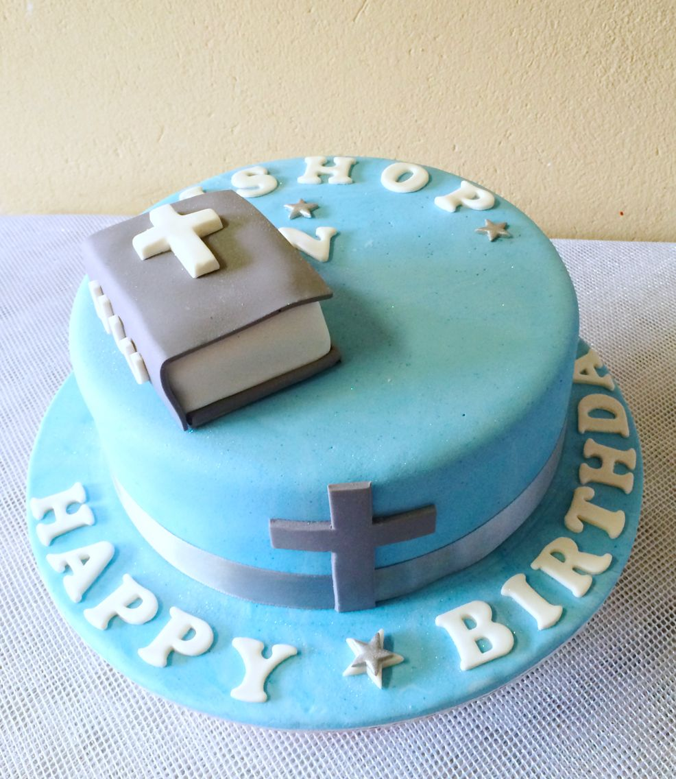 Blue And White Bible Birthday Cake For Guys Shongaevents