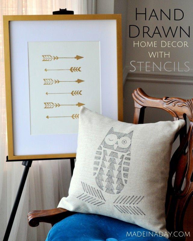 Arrow Wall Art Owl Hand Drawn Pillow Cutting Edge Stencils madeinaday.com