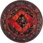 Vintage Hamadan Orange/Multi 6 ft. 7 in. x 6 ft. 7 in. Round Area Rug