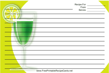 This Cocktail Green Recipe Card Features A Green Cocktail With A Green Border Free To Download And Print Recipe Cards Printable Recipe Cards Greens Recipe